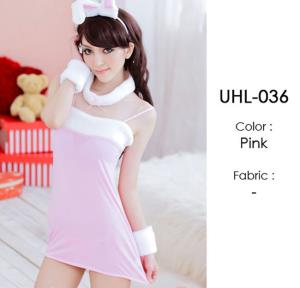 Pink Rabbit Fur Lingerie Costumes Sets UHL-036